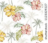 tropical hibiscus flowers  palm ... | Shutterstock .eps vector #1123329227