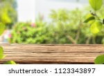 desk of free space and summer... | Shutterstock . vector #1123343897