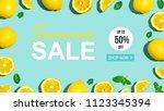 summer sale with fresh lemon...   Shutterstock . vector #1123345394