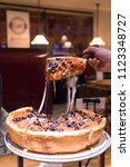 vegetarian deep dish chicago... | Shutterstock . vector #1123348727