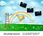 surreal paper landscape with...   Shutterstock .eps vector #1123371017