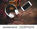 cozy winter background  cup of...   Shutterstock . vector #1123371674