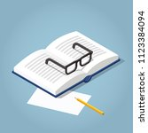 vector isometric open book... | Shutterstock .eps vector #1123384094