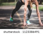 close up of sporty woman in... | Shutterstock . vector #1123386491