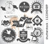 set of vintage labels and stamps | Shutterstock .eps vector #112340489