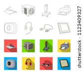 webcam  headphones  usb cable ... | Shutterstock . vector #1123409327