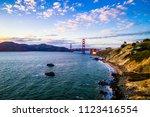 amazing drone view of golden... | Shutterstock . vector #1123416554