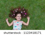 beautiful and happy girl... | Shutterstock . vector #1123418171