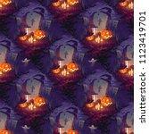 seamless halloween pattern with ... | Shutterstock .eps vector #1123419701