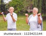feeling great in our senior...   Shutterstock . vector #1123421144