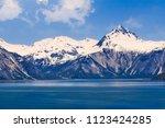 majestic mountain range in... | Shutterstock . vector #1123424285