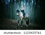 warrior woman on a horse in the ... | Shutterstock . vector #1123425761