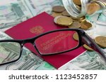 pension certificate of a... | Shutterstock . vector #1123452857