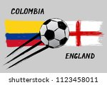 flags of colombia and england   ... | Shutterstock .eps vector #1123458011