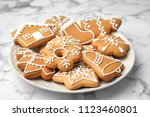 plate with tasty homemade... | Shutterstock . vector #1123460801