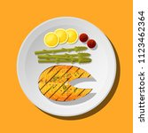 grilled salmon steak with... | Shutterstock .eps vector #1123462364