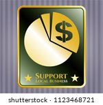 gold badge or emblem with... | Shutterstock .eps vector #1123468721