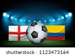 football stadium with the ball... | Shutterstock .eps vector #1123473164