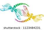 Stock vector two decorative dragonflies 1123484231