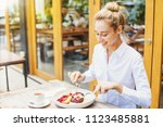 beautiful caucasian woman in... | Shutterstock . vector #1123485881