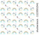 hand drawn cute unicorn... | Shutterstock .eps vector #1123501541