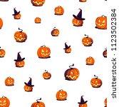 seamless halloween pattern with ... | Shutterstock .eps vector #1123502384