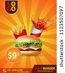 burger brochure poster... | Shutterstock .eps vector #1123507097