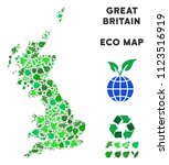 eco great britain map collage... | Shutterstock .eps vector #1123516919