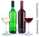 red and white wine bottles... | Shutterstock . vector #1123519721