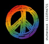 rainbow colored peace symbol...   Shutterstock .eps vector #1123546721