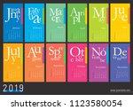 creative wall calendar 2019... | Shutterstock .eps vector #1123580054