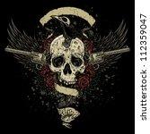 raven eating skull brains... | Shutterstock .eps vector #112359047