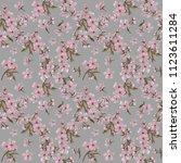 sakura wreath seamless pattern... | Shutterstock . vector #1123611284