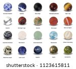 various gemstone beads with... | Shutterstock . vector #1123615811