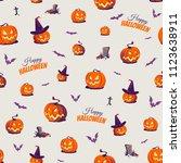 seamless halloween pattern with ... | Shutterstock .eps vector #1123638911