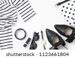 set of black and white woman... | Shutterstock . vector #1123661804