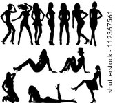 set of sexy women silhouettes | Shutterstock .eps vector #112367561