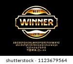 vector luxury golden logotype... | Shutterstock .eps vector #1123679564