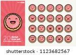 set of cute donut emoji line... | Shutterstock .eps vector #1123682567