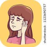 illustration of a sick girl... | Shutterstock .eps vector #1123690757