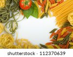 Overhead various Italian pasta background - stock photo
