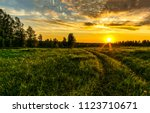 Sunset Rural Farm Meadow...