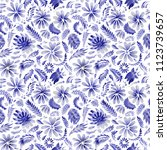 abstract floral seamless... | Shutterstock . vector #1123739657