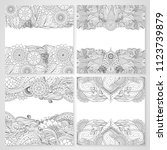 set of cards with ethnic floral ... | Shutterstock .eps vector #1123739879