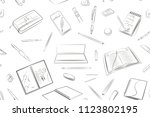 stationery seamless pattern ... | Shutterstock .eps vector #1123802195