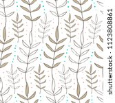 doodle style floral seamless... | Shutterstock .eps vector #1123808861