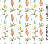 doodle style floral seamless... | Shutterstock .eps vector #1123808864