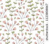 doodle style floral seamless... | Shutterstock .eps vector #1123808867