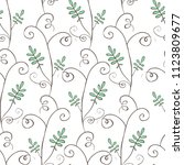doodle style floral seamless... | Shutterstock .eps vector #1123809677