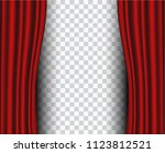 red stage curtain realistic... | Shutterstock .eps vector #1123812521